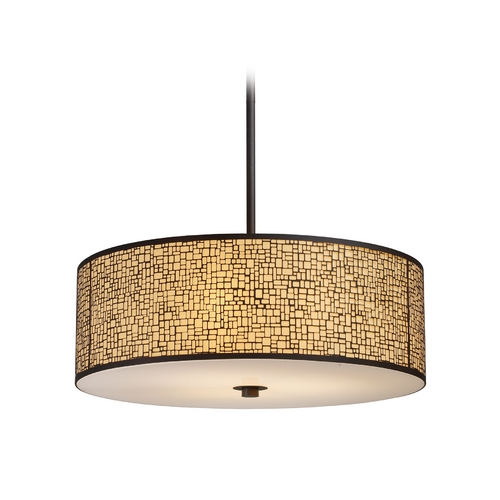 Elk Lighting Modern Drum Pendant Light with Amber Glass in Aged Bronze Finish 31047/5