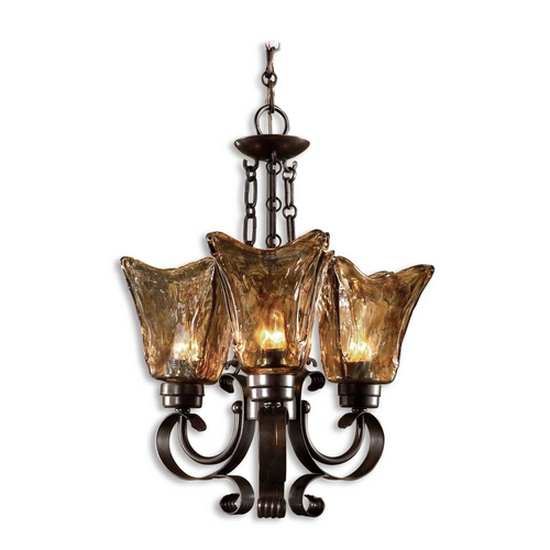 Uttermost Lighting Uttermost 3-Light Chandelier with Amber Glass in Oil Rubbed Bronze 21008