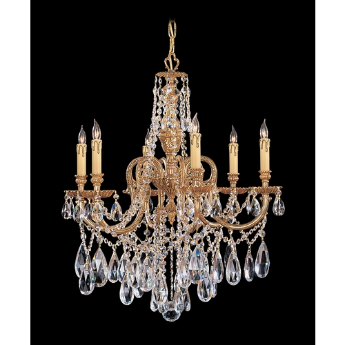Crystorama Lighting Crystal Chandelier in Olde Brass Finish 2706-OB-CL-MWP