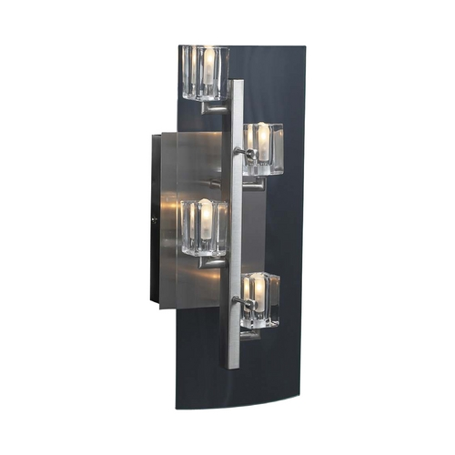 PLC Lighting Modern Sconce Wall Light with Clear Glass in Satin Nickel Finish 1532 SN