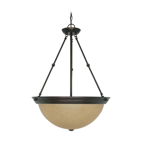 Nuvo Lighting Pendant Light with Beige / Cream Glass in Mahogany Bronze Finish 60/1263