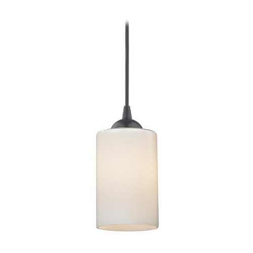 Design Classics Lighting Modern Black Mini-Pendant Light with Opal White Cylinder Glass 582-07  GL1024C