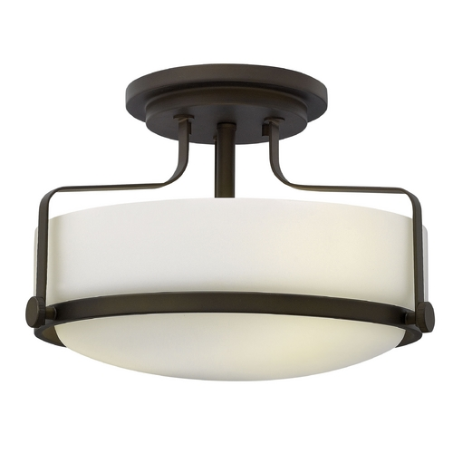 Hinkley Lighting Flushmount Light with White Glass in Oil Rubbed Bronze Finish 3641OZ