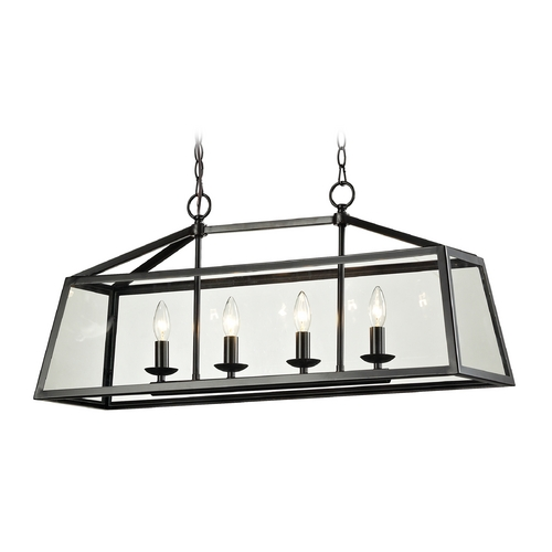 Elk Lighting Island Light with Clear Glass in Oil Rubbed Bronze Finish 31508/4