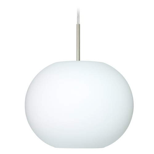 Besa Lighting Besa Lighting Luna Satin Nickel LED Pendant Light with Globe Shade 1JT-477607-LED-SN