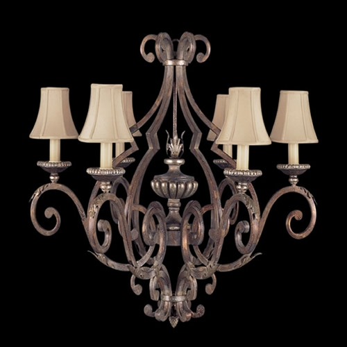 Fine Art Lamps Fine Art Lamps Stile Bellagio Tortoised Leather Crackle with Stained Silver Leaf Accents Chandelier 837140ST