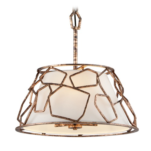 Troy Lighting Troy Lighting Coda Antique Copper Leaf Pendant Light with Empire Shade F5463