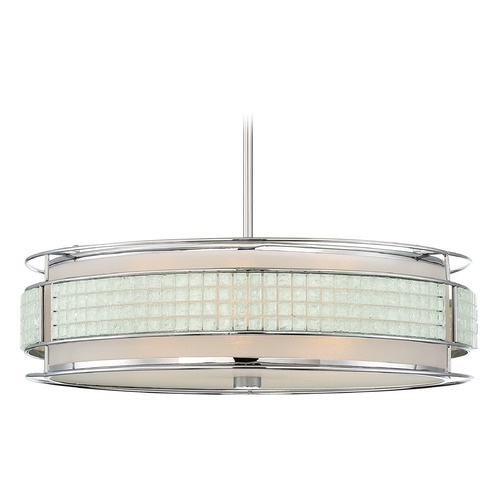 Quoizel Lighting Quoizel Lighting Boundary Polished Chrome Pendant Light with Drum Shade BNY2822C