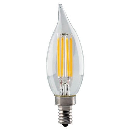 Satco Lighting Satco 4.5 Watt CA11 LED Clear Candelabra Base 3000K 350 Lumens 120 Volt Dimmable S11376