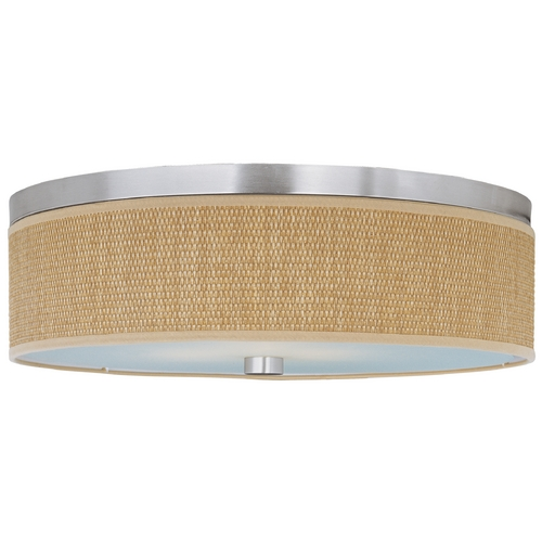 ET2 Lighting Modern Flushmount Light with Brown Shades in Satin Nickel Finish E95004-101SN