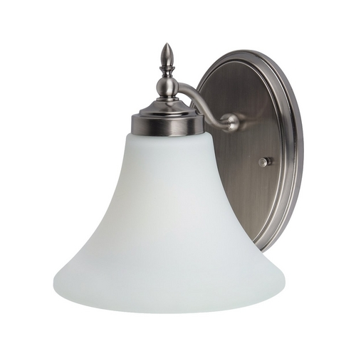 Sea Gull Lighting Sconce Wall Light with White Glass in Antique Brushed Nickel Finish 41180-965
