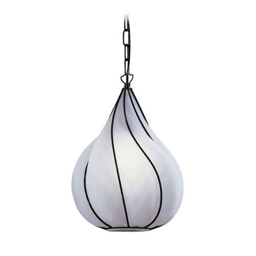 PLC Lighting Modern Pendant Light with White Glass in Black Finish 9700 SATIN/ BK