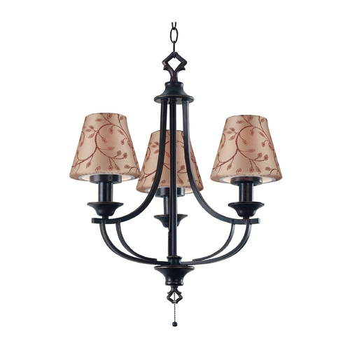 Kenroy Home Lighting Outdoor Chandelier with Taupe Shades in Oil Rubbed Bronze Finish 31367ORB