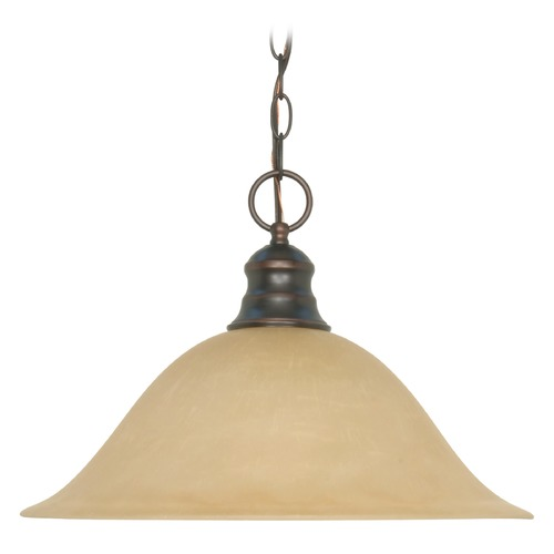 Nuvo Lighting Pendant Light with Beige / Cream Glass in Mahogany Bronze Finish 60/1276