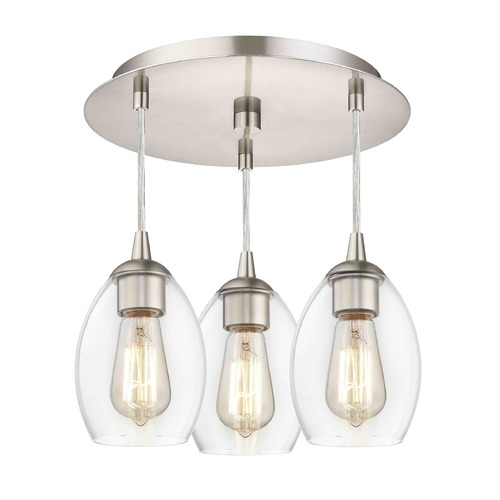 Design Classics Lighting 3-Light Semi-Flush Ceiling Light with Clear Oblong Glass - Nickel Finish 579-09 GL1034-CLR