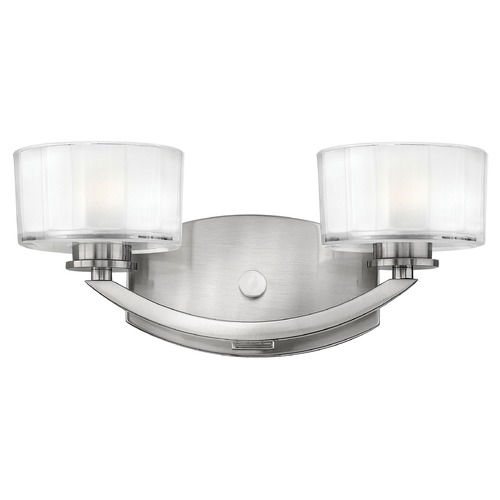 Hinkley Lighting Bathroom Light with White Glass in Brushed Nickel Finish 5592BN