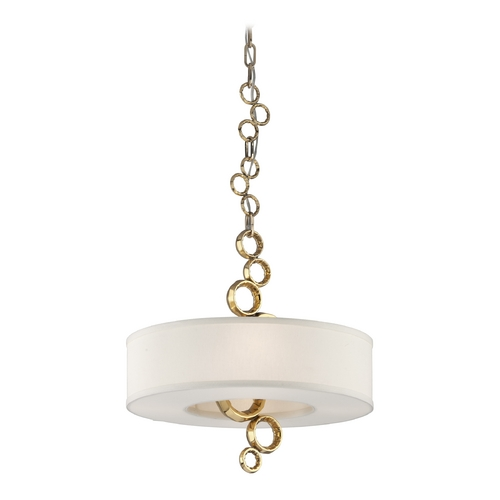 Corbett Lighting Corbett Lighting Continuum Brass Pendant Light with Drum Shade 202-44