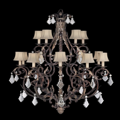 Fine Art Lamps Fine Art Lamps Stile Bellagio Tortoised Leather Crackle with Stained Silver Leaf Accents Crystal Cha 226540ST