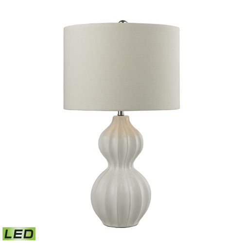 Dimond Lighting Dimond Lighting Gloss White LED Table Lamp with Drum Shade D2575-LED