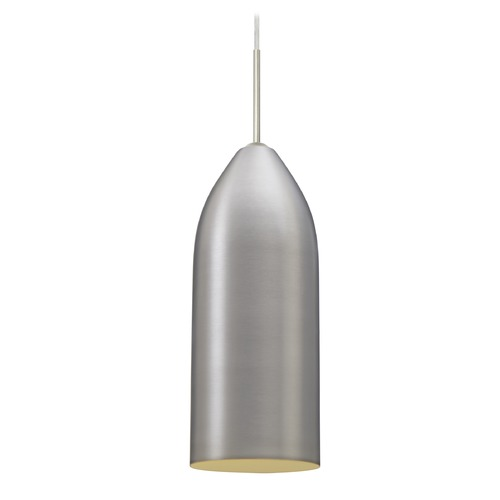 Besa Lighting Besa Lighting Lindy Satin Nickel Mini-Pendant Light with Oblong Shade 1JT-LINDCN-SN