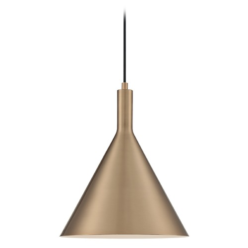 Satco Lighting Satco Lighting Lightcap Burnished Brass Pendant Light with Conical Shade 60/7118