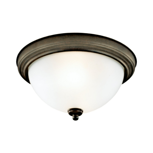 Sea Gull Lighting Flushmount Light with White Glass in Russet Bronze Finish 77065-829