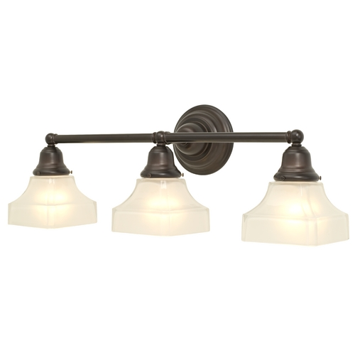 Design Classics Lighting Craftsman Style 3-Light Bathroom Light Bronze with Square Glass 673-30/G9415 KIT