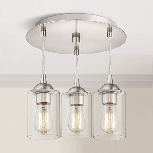 Design Classics Lighting 3-Light Semi-Flush Light with Clear Cylinder Glass - Nickel Finish 579-09 GL1040C
