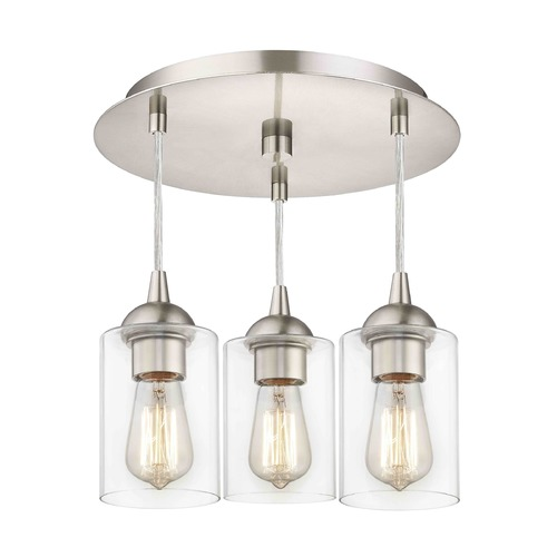 Design Classics Lighting 3-Light Semi-Flush Ceiling Light with Clear Cylinder Glass - Nickel Finish 579-09 GL1040C