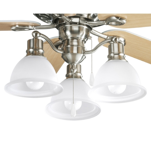 Progress Lighting Progress Light Kit with White Glass in Brushed Nickel Finish P2623-09