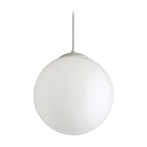 Progress Lighting Progress Globe Glass Pendant Light in White Finish - 14-Inches Wide P4406-29