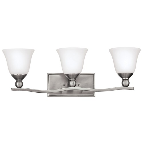 Hinkley Lighting Bathroom Light with White Glass in Brushed Nickel Finish 5893BN