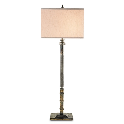 Currey and Company Lighting Currey and Company Lighting Antique Silver Table Lamp with Rectangle Shade 6375