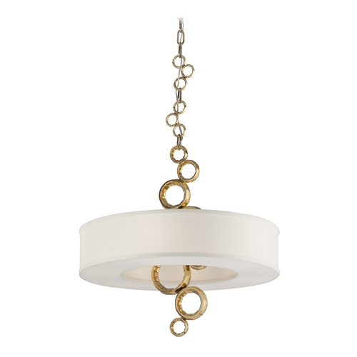 Corbett Lighting Corbett Lighting Continuum Brass Pendant Light with Drum Shade 202-46