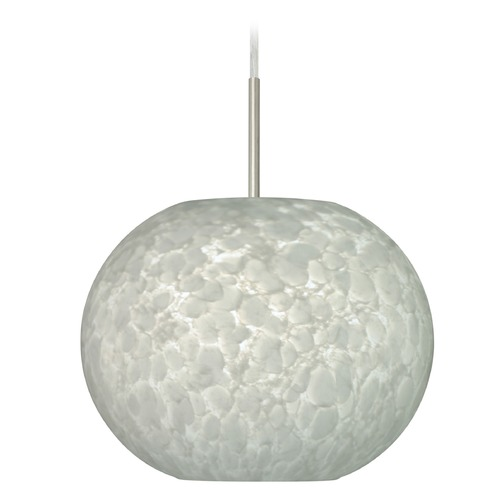 Besa Lighting Besa Lighting Luna Satin Nickel LED Pendant Light with Globe Shade 1JT-477619-LED-SN