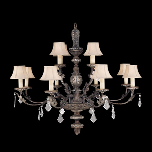 Fine Art Lamps Fine Art Lamps Stile Bellagio Tortoised Leather Crackle with Stained Silver Leaf Accents Crystal Cha 808940ST
