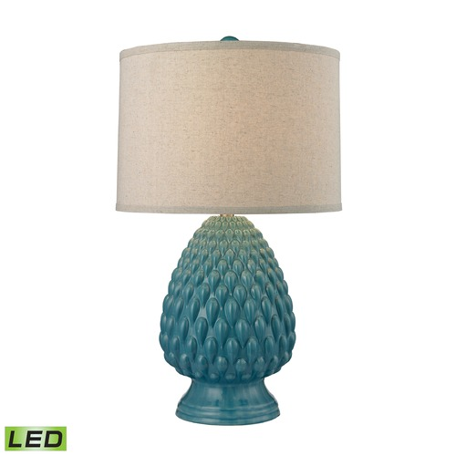 Dimond Lighting Dimond Lighting Deep Seafoam Glaze LED Table Lamp with Drum Shade D2620-LED