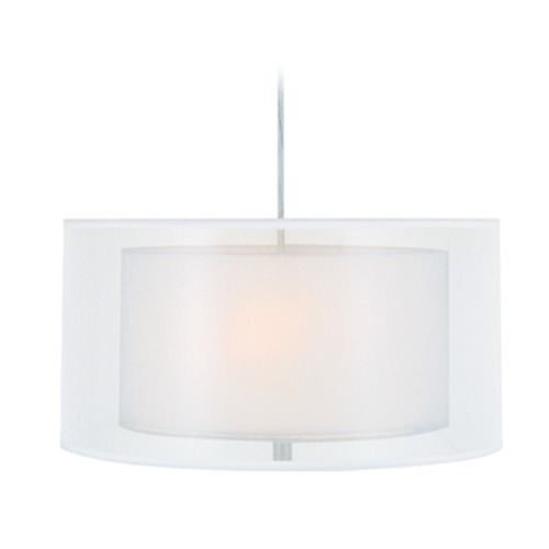 Lite Source Lighting Lite Source Nodin Polished Steel Pendant Light with Drum Shade LS-18626