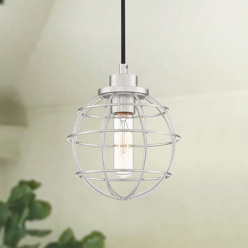 Quoizel Lighting Quoizel Navigator Brushed Nickel Mini-Pendant with Cage Shade NVG1507BN
