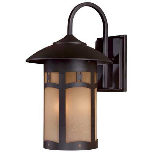 Minka Lavery Outdoor Wall Light with Beige / Cream Glass in Dorian Bronze Finish 8723-A615B