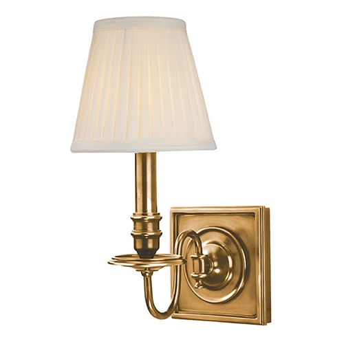 Hudson Valley Lighting Sconce Wall Light with White Shade in Aged Brass Finish 201-AGB