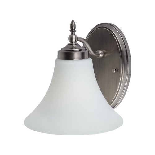 Sea Gull Lighting Sconce Wall Light with White Glass in Antique Brushed Nickel Finish 41180BLE-965