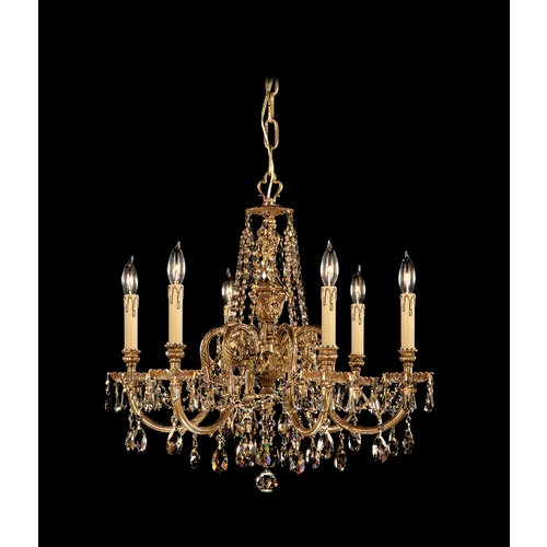 Crystorama Lighting Crystal Chandelier in Olde Brass Finish 2806-OB-GT-MWP