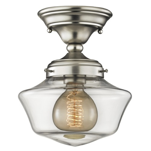 Design Classics Lighting 8-Inch Clear Glass Schoolhouse Ceiling Light FAS-09 / GA8-CL