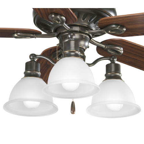 Progress Lighting Progress Light Kit with White Glass in Antique Bronze Finish P2623-20