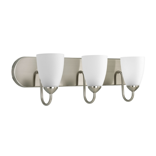 Progress Lighting Progress Bathroom Light with White Glass in Brushed Nickel Finish P2708-09EBWB