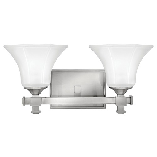 Hinkley Lighting Bathroom Light with White Glass in Brushed Nickel Finish 5852BN