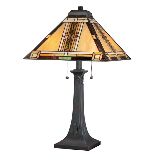 Quoizel Lighting Tiffany Table Lamp with Multi-Color Glass in Valiant Bronze TFNO6325VA
