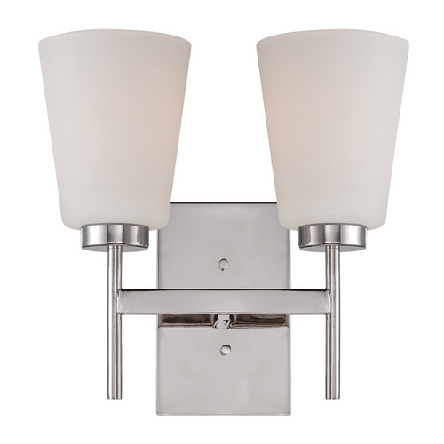 Nuvo Lighting Modern Bathroom Light with White Glass in Polished Nickel Finish 60/5212