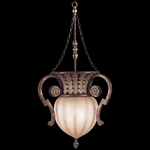Fine Art Lamps Fine Art Lamps Stile Bellagio Tortoised Leather Crackle with Stained Silver Leaf Accents Pendant Lig 836542ST